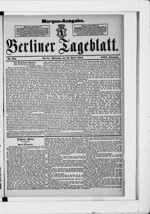 Berliner Tageblatt und Handels-Zeitung vom 30.04.1884