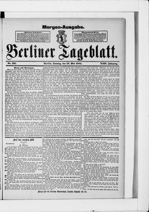 Berliner Tageblatt und Handels-Zeitung on May 18, 1884