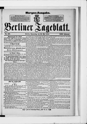 Berliner Tageblatt und Handels-Zeitung vom 22.05.1884