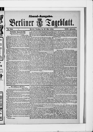 Berliner Tageblatt und Handels-Zeitung vom 27.05.1884
