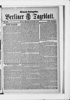 Berliner Tageblatt und Handels-Zeitung vom 28.05.1884