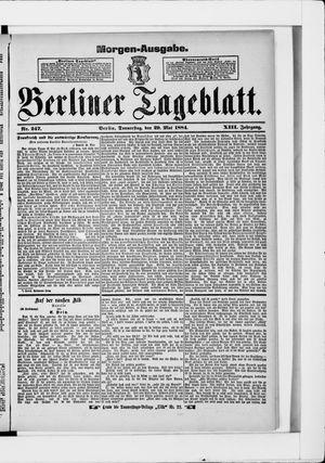 Berliner Tageblatt und Handels-Zeitung vom 29.05.1884