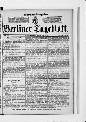 Berliner Tageblatt und Handels-Zeitung vom 31.05.1884