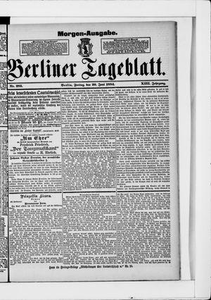 Berliner Tageblatt und Handels-Zeitung vom 20.06.1884
