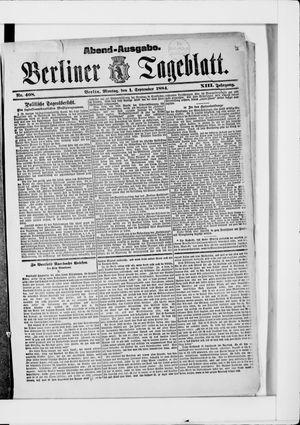 Berliner Tageblatt und Handels-Zeitung vom 01.09.1884