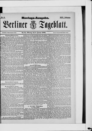 Berliner Tageblatt und Handels-Zeitung vom 05.01.1885