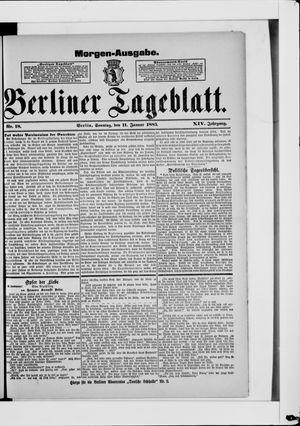 Berliner Tageblatt und Handels-Zeitung vom 11.01.1885