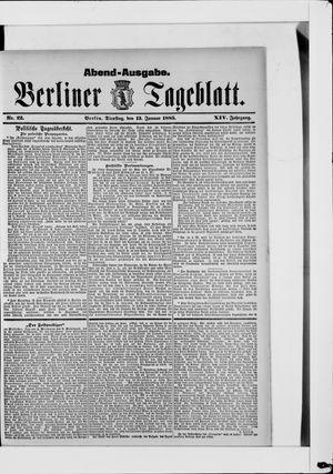 Berliner Tageblatt und Handels-Zeitung vom 13.01.1885