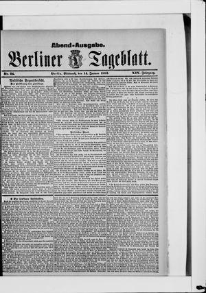 Berliner Tageblatt und Handels-Zeitung vom 14.01.1885