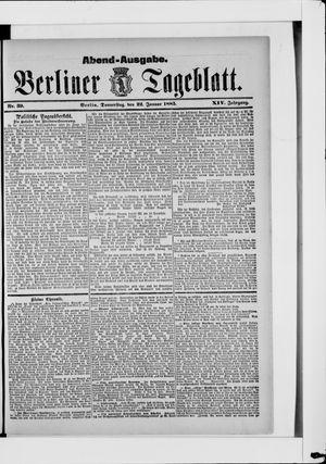 Berliner Tageblatt und Handels-Zeitung vom 22.01.1885