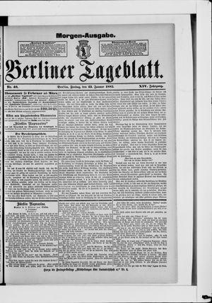 Berliner Tageblatt und Handels-Zeitung vom 23.01.1885