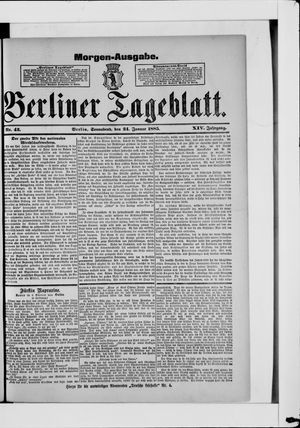 Berliner Tageblatt und Handels-Zeitung vom 24.01.1885