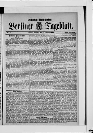 Berliner Tageblatt und Handels-Zeitung vom 27.01.1885