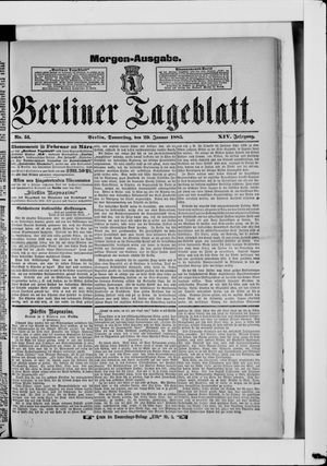 Berliner Tageblatt und Handels-Zeitung vom 29.01.1885