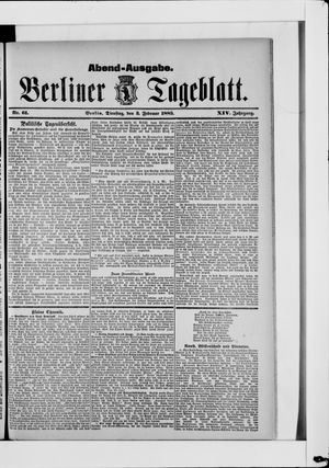 Berliner Tageblatt und Handels-Zeitung vom 03.02.1885