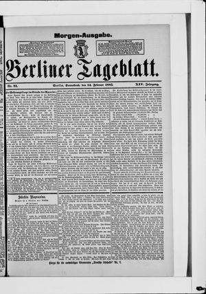 Berliner Tageblatt und Handels-Zeitung vom 14.02.1885