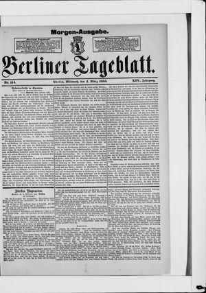 Berliner Tageblatt und Handels-Zeitung vom 04.03.1885