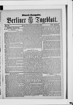 Berliner Tageblatt und Handels-Zeitung vom 12.03.1885
