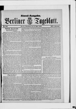Berliner Tageblatt und Handels-Zeitung vom 11.04.1885