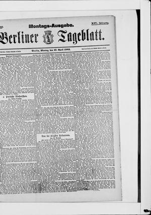 Berliner Tageblatt und Handels-Zeitung vom 27.04.1885