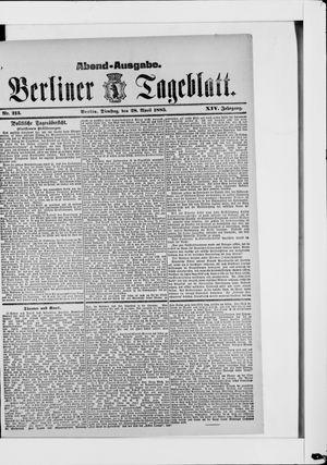 Berliner Tageblatt und Handels-Zeitung vom 28.04.1885