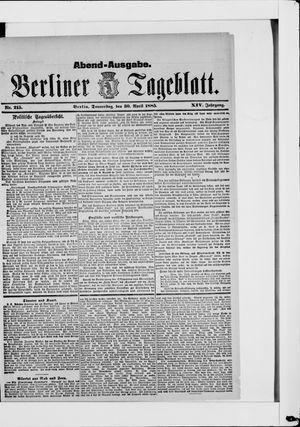 Berliner Tageblatt und Handels-Zeitung vom 30.04.1885