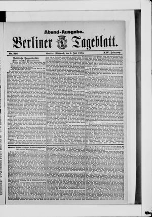 Berliner Tageblatt und Handels-Zeitung vom 01.07.1885