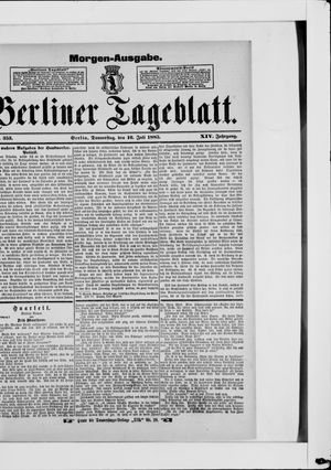 Berliner Tageblatt und Handels-Zeitung vom 16.07.1885