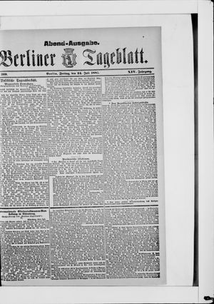 Berliner Tageblatt und Handels-Zeitung vom 24.07.1885