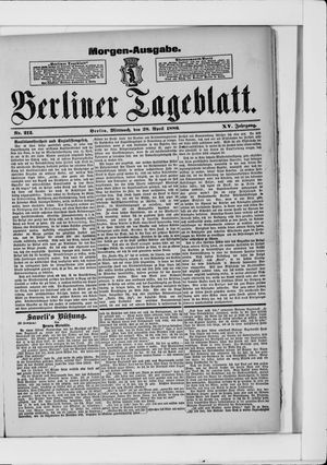 Berliner Tageblatt und Handels-Zeitung vom 28.04.1886