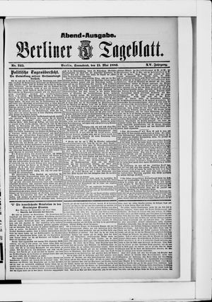 Berliner Tageblatt und Handels-Zeitung vom 15.05.1886