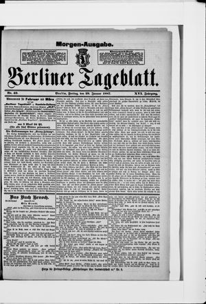 Berliner Tageblatt und Handels-Zeitung vom 28.01.1887