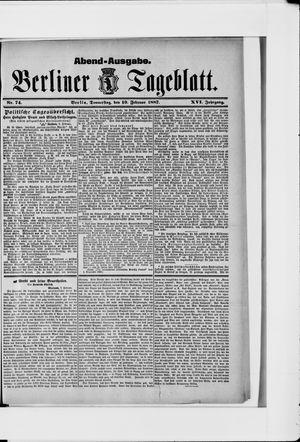 Berliner Tageblatt und Handels-Zeitung vom 10.02.1887