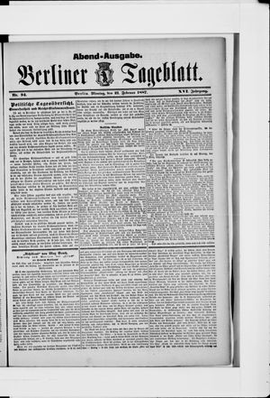 Berliner Tageblatt und Handels-Zeitung vom 21.02.1887