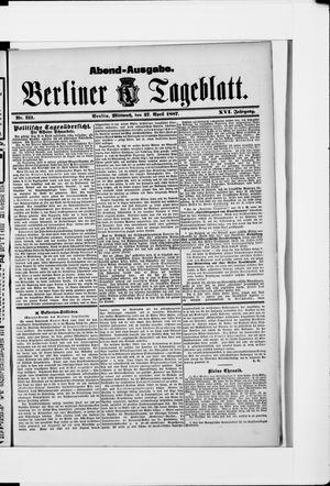 Berliner Tageblatt und Handels-Zeitung vom 27.04.1887