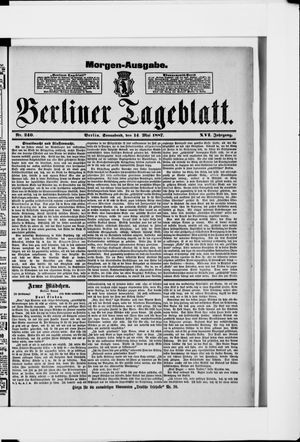 Berliner Tageblatt und Handels-Zeitung vom 14.05.1887