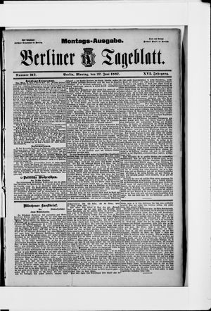 Berliner Tageblatt und Handels-Zeitung vom 27.06.1887