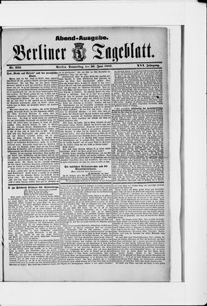 Berliner Tageblatt und Handels-Zeitung vom 30.06.1887