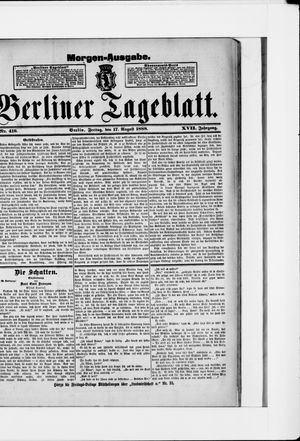 Berliner Tageblatt und Handels-Zeitung vom 17.08.1888
