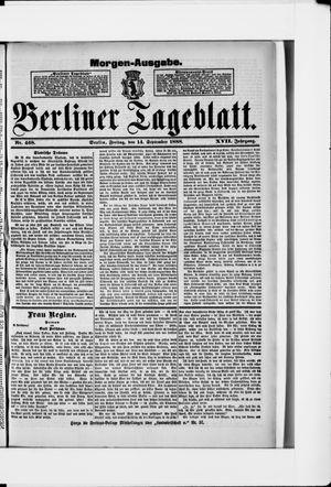 Berliner Tageblatt und Handels-Zeitung vom 14.09.1888