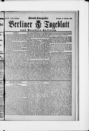 Berliner Tageblatt und Handels-Zeitung vom 22.09.1888