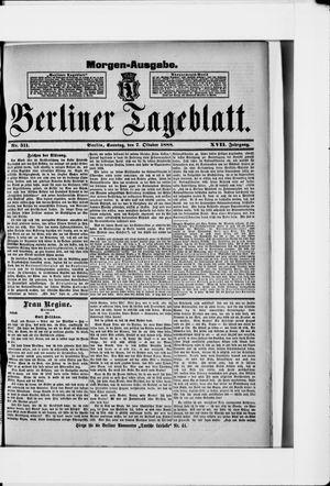Berliner Tageblatt und Handels-Zeitung vom 07.10.1888