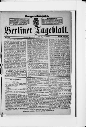 Berliner Tageblatt und Handels-Zeitung vom 29.12.1888