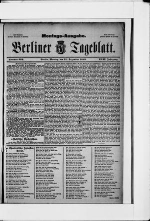 Berliner Tageblatt und Handels-Zeitung vom 31.12.1888