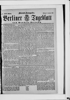 Berliner Tageblatt und Handels-Zeitung vom 21.01.1889