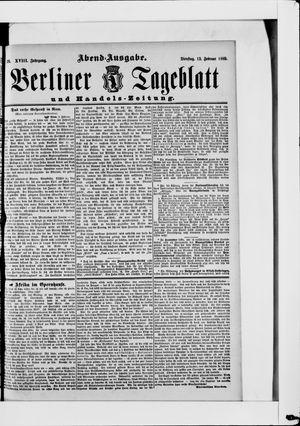 Berliner Tageblatt und Handels-Zeitung vom 12.02.1889