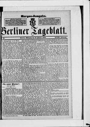 Berliner Tageblatt und Handels-Zeitung vom 13.02.1889