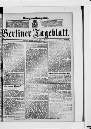 Berliner Tageblatt und Handels-Zeitung on Feb 15, 1889
