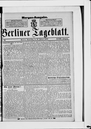 Berliner Tageblatt und Handels-Zeitung vom 21.02.1889