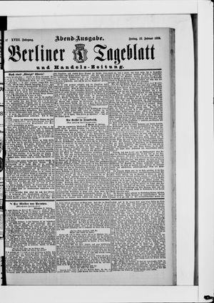 Berliner Tageblatt und Handels-Zeitung vom 22.02.1889